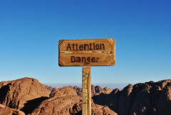 Attention....Danger (Mahmoud El-Kholy) Tags: sign danger top egypt mount summit attention sinai blinkagain
