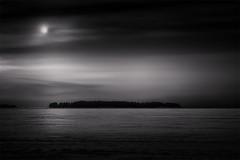 Krokholmen (Vesa Pihanurmi) Tags: longexposure winter sea blackandwhite moon snow seascape ice nature monochrome clouds landscape island helsinki artistic le minimalism lowkey vuosaari uutela krokholmen