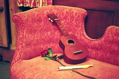 Ukelele, rose and chaise longue (and slide whistle) (Joybot) Tags: red musician music rose seat 2006 romance couch sofa romantic chaise ukelele chaiselongue settee longue faintingcouch slidewhistle