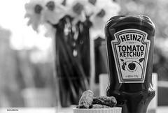 Grown Not Made! (BGDL) Tags: blackandwhite kitchen monochrome daffodils heinztomatoketchup cocktailsausages 7daysofshooting nikond7000 blackandwhitewednesday bgdl nikkor50mm118g elementsorganizer11 week39theletterk