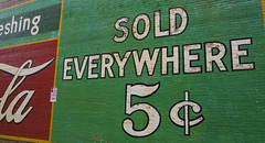 I wish! (steverichard) Tags: old travel usa green wall price ga vintage georgia advertising marketing mural image cola drink five sold painted low beverage coke roadtrip cents cocacola lettering selling coca everywhere 5c acworth steverichard