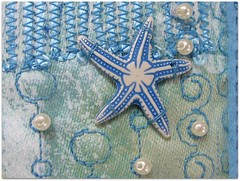 we are pearls amidst the stars (colorfulexpressions) Tags: stars 6ws buttons sixwordstory pearls fabric quilting seahorses quotation lrp annemorrowlindbergh colorfulexpressions designerfabric fabricjournalpage braziliansilkthreads