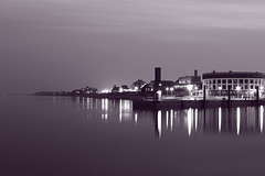 nightly skyline of WHV (candlelight_killer) Tags: ocean city blackandwhite bw reflection water skyline night lights harbor meer wasser nacht harbour peaceful calm citylights sw hafen nordsee bnw reflektion wilhelmshaven sdstrand ozean whv nightsession bnwbutnot