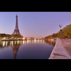 Eiffel sur Seine (Zed The Dragon) Tags: city morning bridge light sky paris reflection building skyline night skyscraper reflections french landscape lights europe long exposure flickr cityscape shot minolta sony iii capital eiffel best musee full ciel frame pont fullframe alpha alexandre nuit pyramide reflets hdr sal lelouvre zed francais alexandreiii parisien 24x36 poselongue a850 sonyalpha concordians dslra850 alpha850 zedthedragon