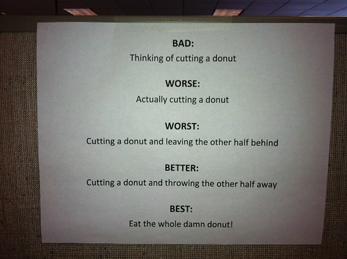 Bad: Thinking of cutting a donut. Worse: Actually cutting a donut. Worst: Cutting a donut and leaving the other half behind. Better: Cutting a donut and throwing the other half away. Best: Eat the whole damn donut!
