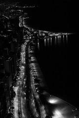 Chicago: Dark Night (romanboed) Tags: leica m 240 summilux 50 chicago usa lake shore drive gold coast oak street beach night aerial streetlights cars bw black white monochrome available light america city cityscape urban downtown