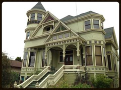 Very Green: The Captain Boudrow House, 1889. (Melinda ....) Tags: victorian house berkeley preserved historic painted queenanne architecture windows stairs porch peaks gables baywindow raisedbasement eastbay green colors palette conical peak oxford