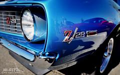 blueZ (Hi-Fi Fotos) Tags: blue z28 chevy chevrolet camaro 69 1969 firstgeneration option package chrome badge emblem reflection american classiccar musclecar pony tokina 1120mm wide nikon d5000 hifi fotos hallewell