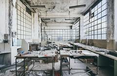 Textile Factory SN (GregoireC - www.gregoirec.com) Tags: a7 canon dri sony tse17mmf4l abandoned urbex textile factory industrial industry office desk decayed decay