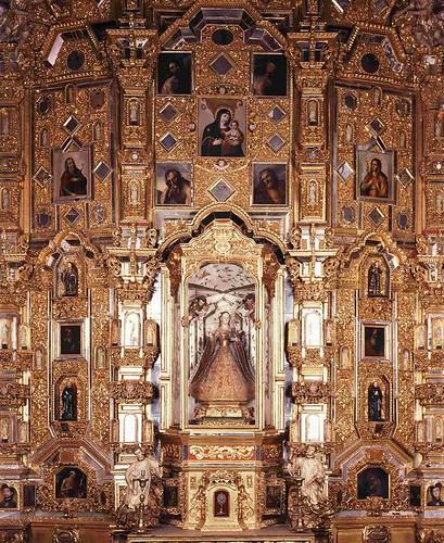 Retablo del Altar Mayor Capilla de Novicios, Templo del Antiguo Colegio de San Francisco Javierm hoy Museo Nacional del Virreinato, Tepozotlán, Edo. de México.
