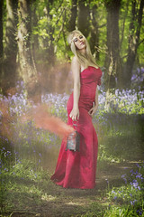 in the mystic forrest (BarryKelly) Tags: red dress blue bell smoke blonde satin mystic path twig lantern silk head band dappled shiny green tree wexford