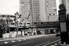 Above ground stop in Tokyo (ZKent.Yousif) Tags: chiyodaku tkyto japan jp tokyo canon canonsigma sigma1750mm sigma train blackandwhite