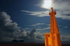 20160819_051159 (Luclasaw) Tags: tokyo shikinejima niijima lighthouse clouds port pier summer japan sea moon