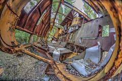 Vehicles in Prypjat (Wendelin Jacober) Tags: vehicles prypjat tschernobyl ukraine kiew lostplace lost place polizei station alter buss hdr fisheye creativecommons creative commons