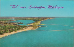 CEN Ludington MI 1950s Aerial Residential Business & Industrial View DOW CHEMICAL Ludville with PMRR C&O Railroad Ferry Docks Harbor Entrance near Hamlin Lake Photo Dauls News (UpNorth Memories - Donald (Don) Harrison) Tags: vintage antique postcard rppc don harrison upnorth memories upnorth memories upnorthmemories michigan history heritage travel tourism michigan roadside restaurants cafes motels hotels tourist stops travel trailer parks campgrounds cottages cabins roadside entertainment natural wonders attractions usa puremichigan