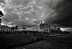 The Royal Palace of Mysore (Rupam Das) Tags: nikon nikkor 1024mm wideangle house palace outdoor monochrome blackandwhite architecture royal heritage mysore india karnataka historical magnificent grass sky clouds