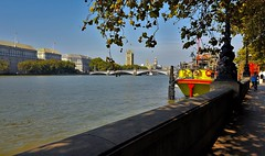 Albert Embankment, London. UK (standhisround) Tags: riverthames thames river albertembankment water lambeth lambethbridge trees scenic london uk street thameshouse ergonhouse housesofparliament boat building architecture