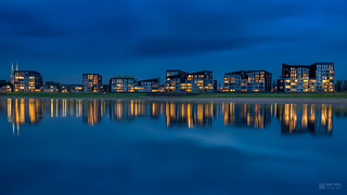 Blue hour cityscape with reflection of Deventer.