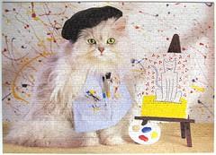 Die Knstlerkatze / The Cat Artist (Leonisha) Tags: puzzle jigsawpuzzle cat chat katze artist knstlerin malerei painter