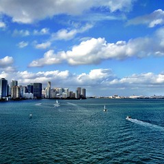 Miami Skyline from The Rickenbacker (miamism) Tags: miami miamiviews miamiskyline miamirealestate miamisky miamisms miamiclouds rickenbackerbridge