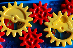 Gear Train (arbyreed) Tags: blue red yellow colorful bright vibrant plastic brightcolors gears vividcolors vibrantcolors plasticgears arbyreed