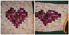 WIP - Pixled Heart.... (ayliN--Nilya) Tags: art gallery quilt heart low wip mini volume pixeled inerface fusilble