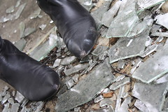 Boots on Glass (Jake Brusha) Tags: broken glass female shoes toes pointy boots brokenglass exploration shards blackboots pointyfeet