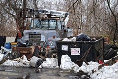 Multi-Faceted Junk Pile (Wires In The Walls) Tags: ford dumpster truck bucket garbage industrial lift mechanical connecticut debris ct utility vehicle milford lifter overflow 06460 2013