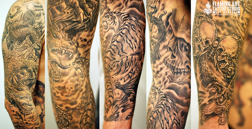 Black And White Tiger Tattoo Sleeve Dragon And Tiger Sleeve Tattoo
