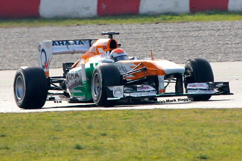 Adrian Sutil in his Force India at Formula One Winter Testing, March 2013