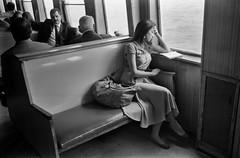 Istanbul (semrich) Tags: leica blackandwhite bw woman film water ferry analog turkey reading istanbul m2 vapur 3525 asa400 seaofmarmara hp5plus400 angenieuxretrofocus