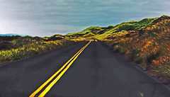 No Passing (picaday) Tags: road trip vacation hill doubleyellowlines oregontrip emptyroad doubleline