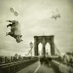 Meet me on the Brooklyn Bridge (Janine Graf) Tags: city nyc travel silly balloons manhattan surreal adventure brooklynbridge rhinos artrage whimsical whiterhinoceros superimpose juxtaposer tiltshiftgen janine1968 blurfx scratchcam janinegraf animalhookup