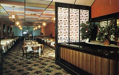 Gold Leaf Restaurant Hewlett Long Island NY (Edge and corner wear) Tags: vintage restaurant pc interior room postcard chinese screen drop ceiling chrome mondrian perforated