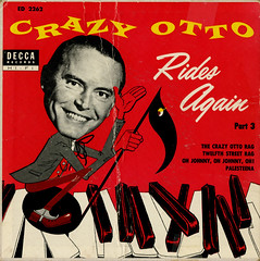 Crazy Otto Rides Again (45) (Jim Ed Blanchard) Tags: vintage keys weird store crazy funny head cartoon vinyl piano picture 45 note again novelty jacket thrift cover single otto ugly record rides sleeve ep kooky