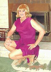 Burgundy Dress (bobbievnc) Tags: tv highheels dress legs cd tgirl short blonde redhair pantyhose crossdresser nylons shemale tanpantyhose