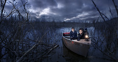 Journey of the Survivors (Rob Woodcox) Tags: charity morning sky water kids clouds dark children boat surreal eerie swamp conceptual whimsical cause fosterchildren indiegogo robwoodcox robwoodcoxphotography swt2013 storiesworthtelling
