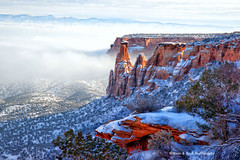 COLORADO NATIONAL MONUMENT ... Foggy Day In Paradise (Aspenbreeze) Tags: mountains southwest fog rural colorado spires country canyon valley foggyday coloradonationalmonument aspenbreeze moonandbackphotography topphotospots redforcks tpslandscape gpsetest bevzuerlein