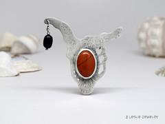 BAW52/10 (lesliezemenek) Tags: silver jasper 10 brooch jewelry jewellery sterling obsidian baw52