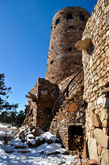 Watchtower at Grand Canyon (pamelainob (Pamela Schreckengost)) Tags: arizona snow grandcanyon southrim desertview watchtower grandcanyonnationalpark desertviewdrive grandcanyonsouthrim pamelaschreckengost pamschreckcom 2013pamelaschreckengost