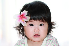 Look at this cute floral hair accessory (^_^) (Spice  Trying to Catch Up!) Tags: portrait baby plant flower color floral girl face japan female canon hair geotagged asian japanese petals infant asia child hibiscus  tao   bulaklak loveofmylife  babae hija hairaccessories halaman mukha    chubbybaby      sanggol buhok 2013        cutefatgirl
