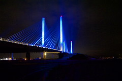 Indian River Inlet Bridge (Lee Cannon) Tags: bridge blue night cables inlet nightphoto lighted bluelights indianriver cablestaybridge inletbridge indianriverinletbridge charleswcullenbridge
