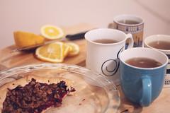 tea & pie (Yevy Photography) Tags: birthday wood party white green yellow project pie photo lemon tea sweet teal board cutting mug 365 herb