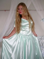 Satin skirt (Paula Satijn) Tags: sexy green girl beauty hair dress skirt blonde gown satin ballgown