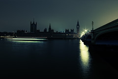 Houses of Parliament during Earth Hour (murphyz) Tags: city bridge light london westminster thames night river dark boat time capital housesofparliament bigben clocktower trail event iconic londonist earthhour earthhourorg