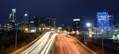 Philadelphia (Rafakoy) Tags: road city longexposure urban panorama color cars philadelphia colors skyline night digital lights highway cityscape pennsylvania pa philly vinestreetexpressway interstate676 nikond800 afsnikkor2470mmf28ded