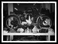 BSA On Display [Monochrome Framed] (edwardconde) Tags: monochrome framed motorcycle ventura bsa ipad filterstorm olympusep3 editedontheipad fujian35mmf17 snapseed edwardconde73 photographersontumblr