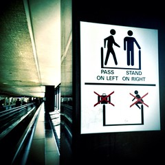 Pass on the Left, Stand on the Right (a.k.a. Flash) Tags: sanfranciscointernationalairportsfo signs stick figures stand pass signage instructions