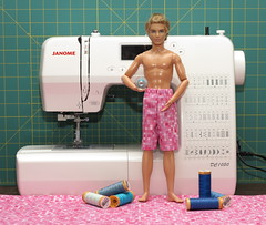 Ian's New Shorts (FashionistaKen) Tags: swim doll sewing ken barbie boardshorts