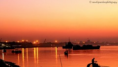 Memories in Red & Yellow - Sunset in Kolkata (sandy_photo) Tags: sunset water river boats twilight nightshot coastline riverbank kolkata ganga ganges riverscape sunsetandsunrise goldensunsets